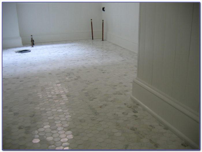 White Hexagon Bathroom Floor Tile