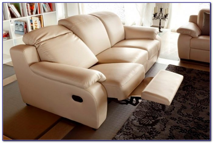 White Leather Recliner Sofa Set