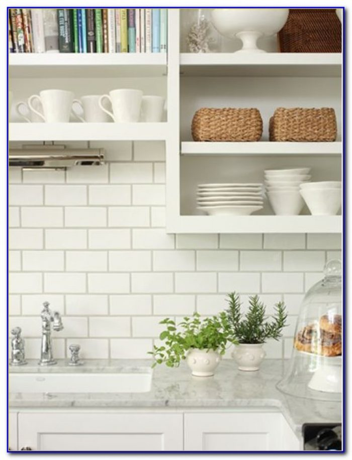 White Subway Tile Backsplash Kitchen