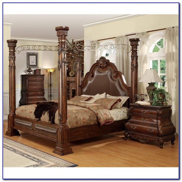 Cherry Oak Wood Bedroom Set