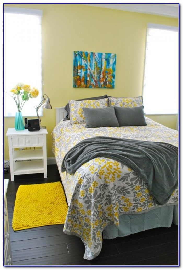 Blue Bedroom With Yellow Accents