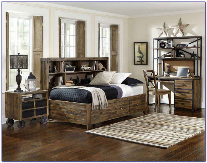 Dark Distressed Wood Bedroom Furniture
