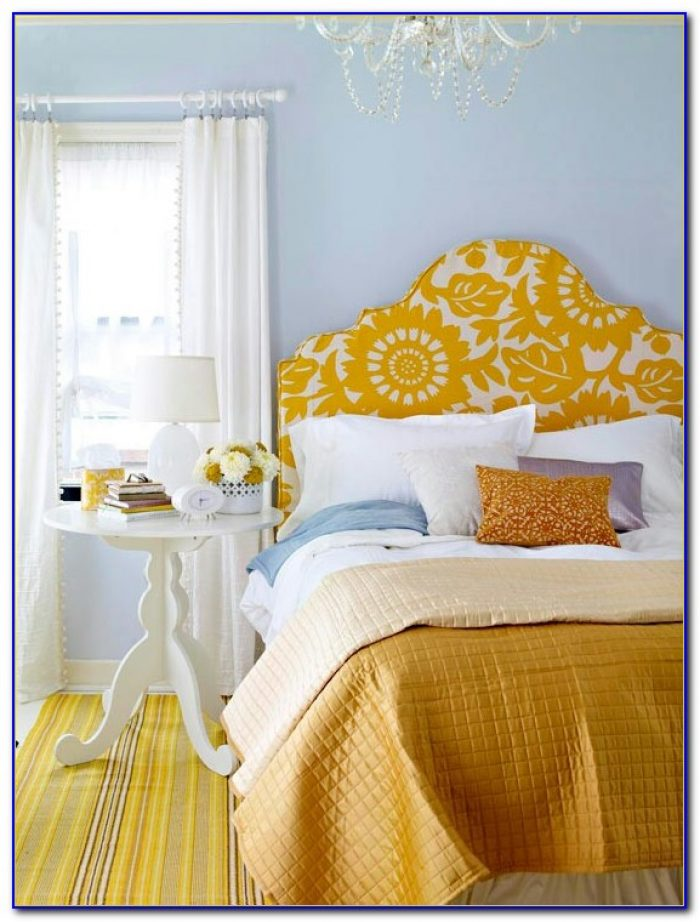 Purple Bedroom With Yellow Accents