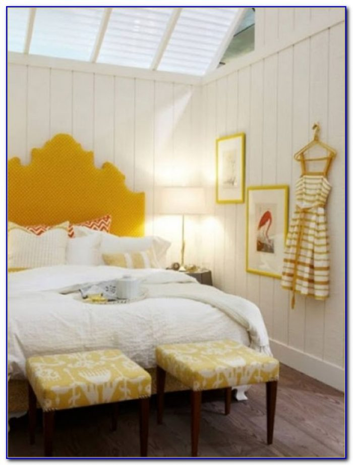 White Bedroom With Yellow Accents