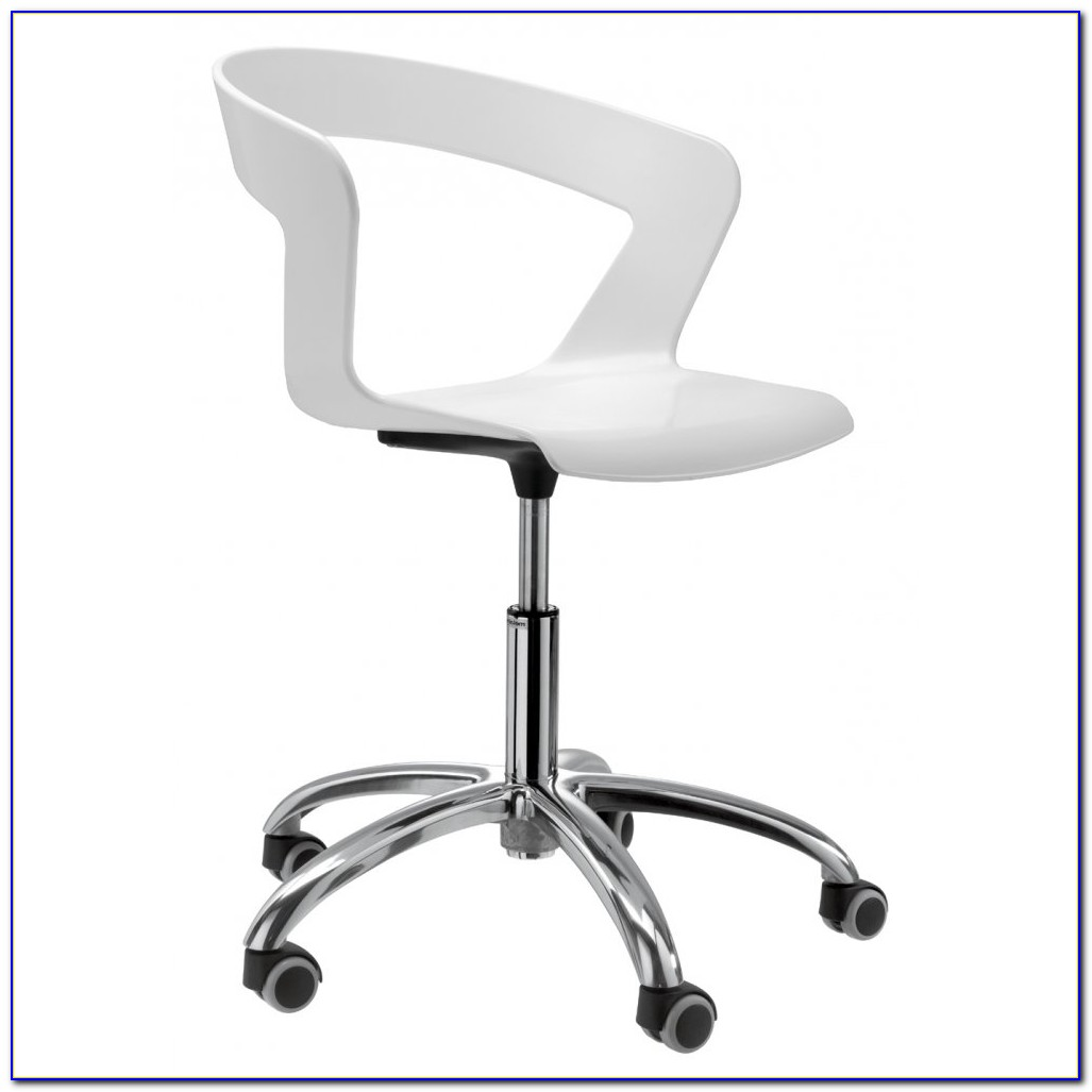 White Leather Armless Desk Chair
