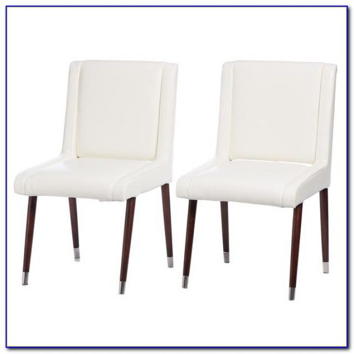 White Leather Dining Chairs And Table