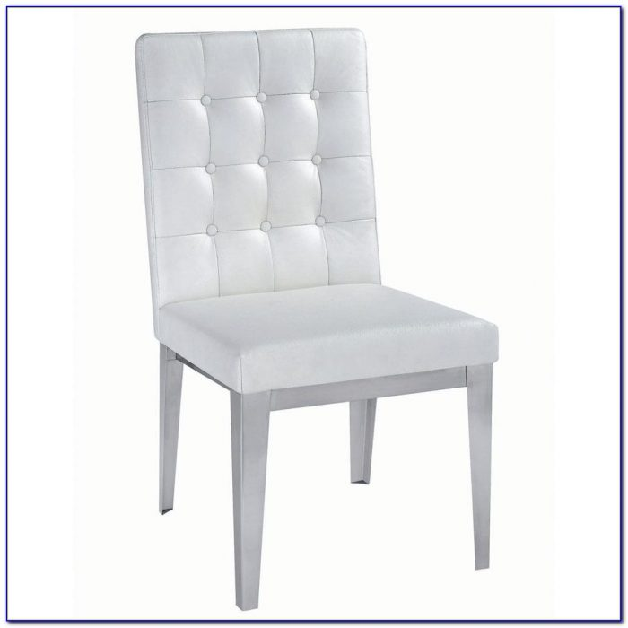 White Leather Dining Chairs Modern