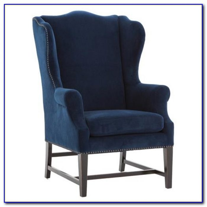 Blue Velvet Wing Chair