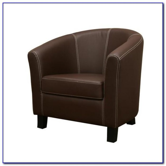 Brown Leather Club Chair And Ottoman