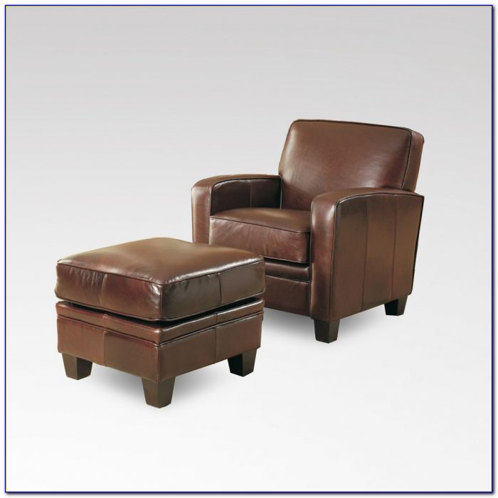 Faux Leather Club Chair And Ottoman