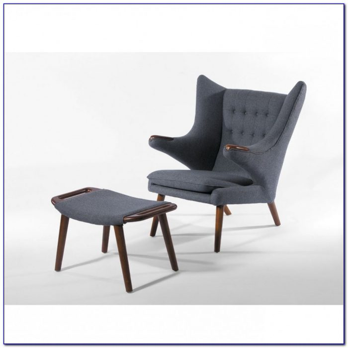 Grey Club Chair With Ottoman
