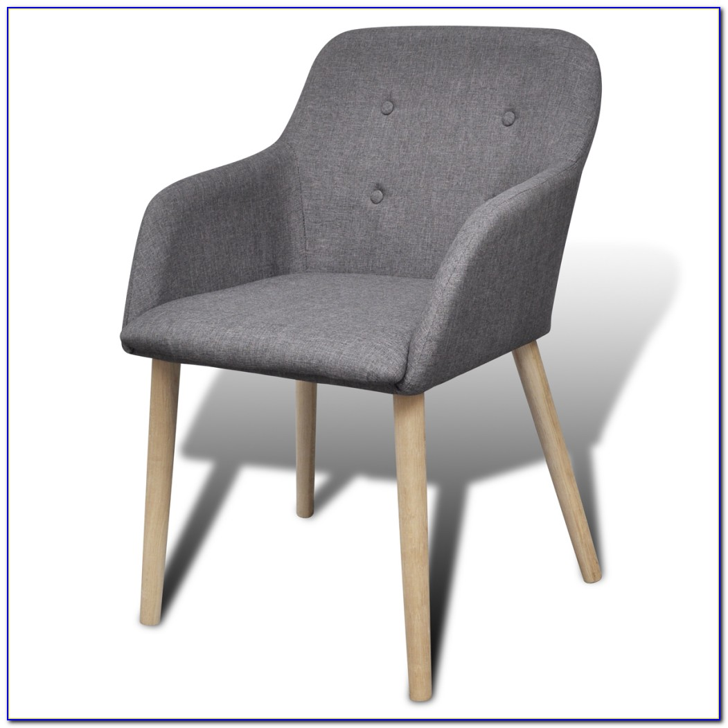 Grey Fabric Dining Chairs With White Legs