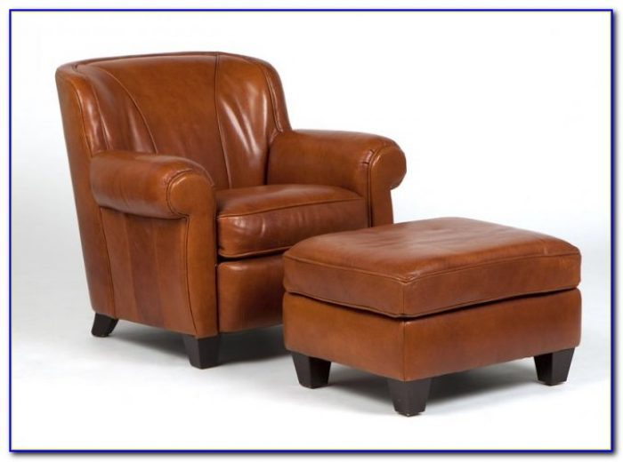 Leather Club Chair And Ottoman Set