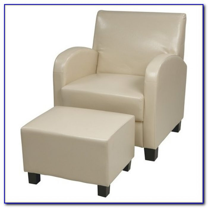 White Club Chair With Ottoman