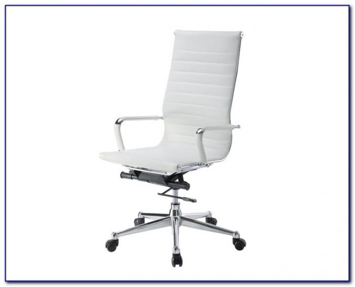 White Leather Desk Chair Armless