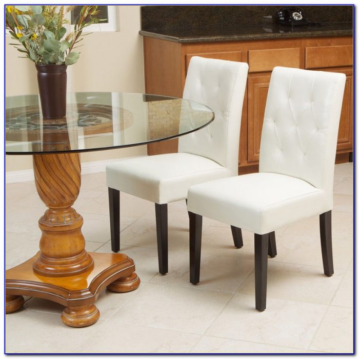 White Leather Dining Room Chairs With Arms
