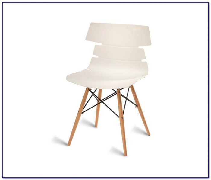 White Molded Chair With Wood Legs