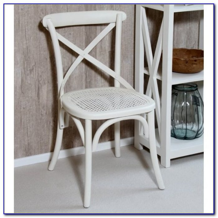 White Painted Wood Dining Chairs