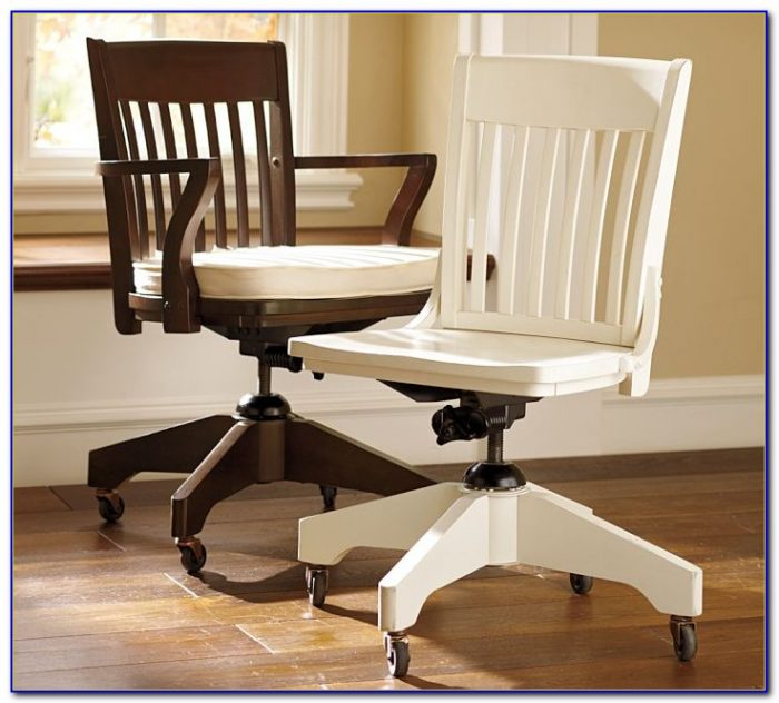 White Wood Desk Chair With Arms