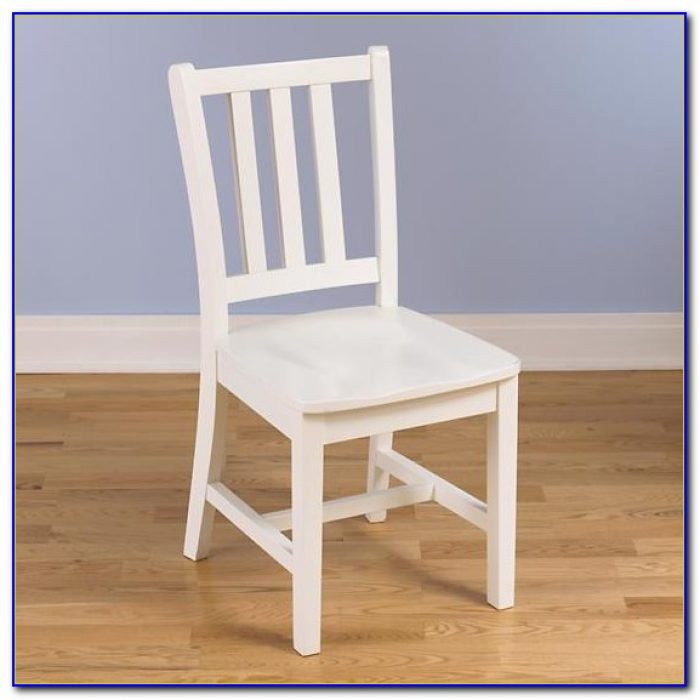 White Wooden Desk Chair With Cushion