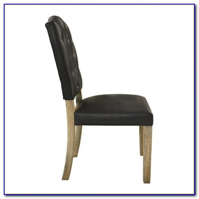 Black Leather Tufted Dining Chair