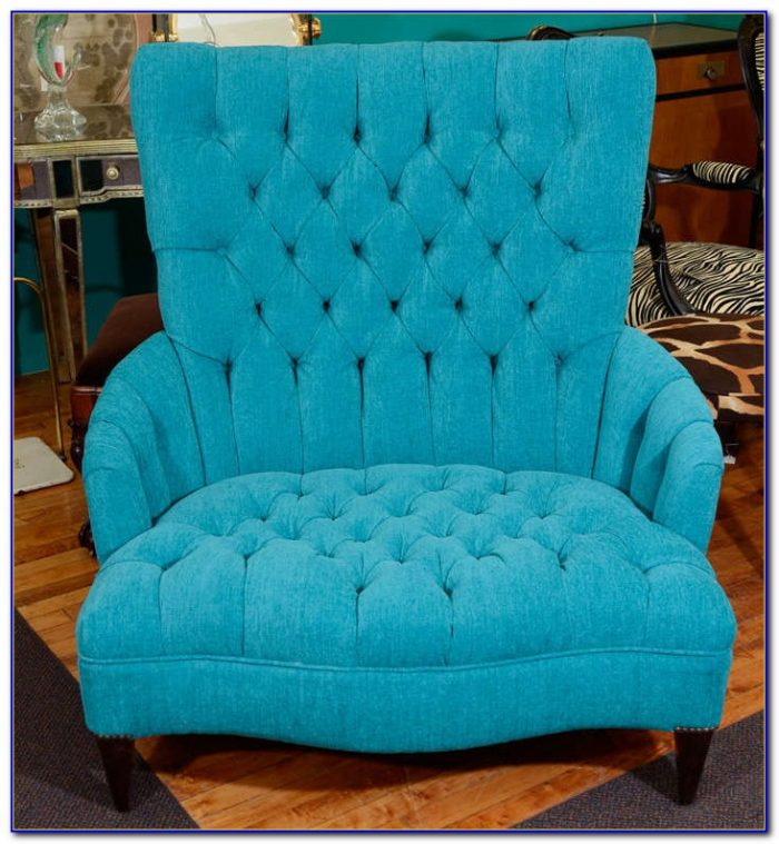 Blue Leather Chair And A Half