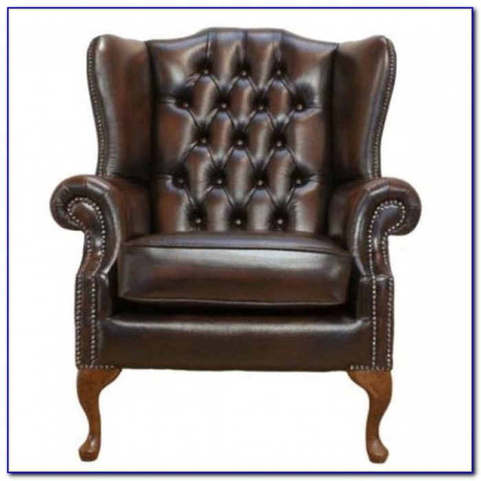 Brown Leather Chesterfield Wing Chair