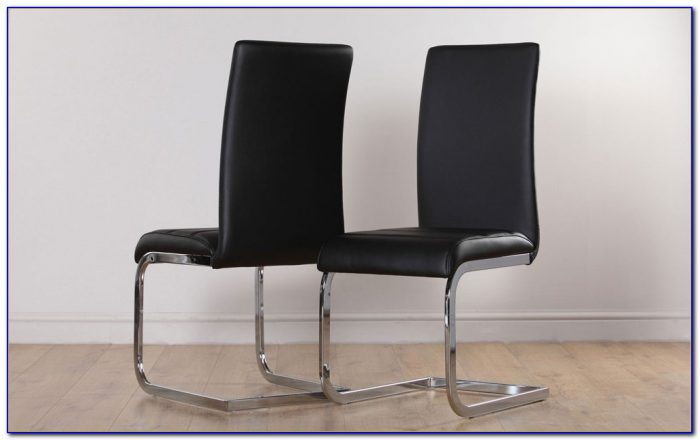 Contemporary Black Leather Dining Room Chairs