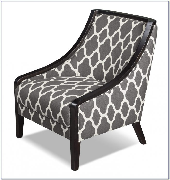 Grey And White Striped Accent Chair