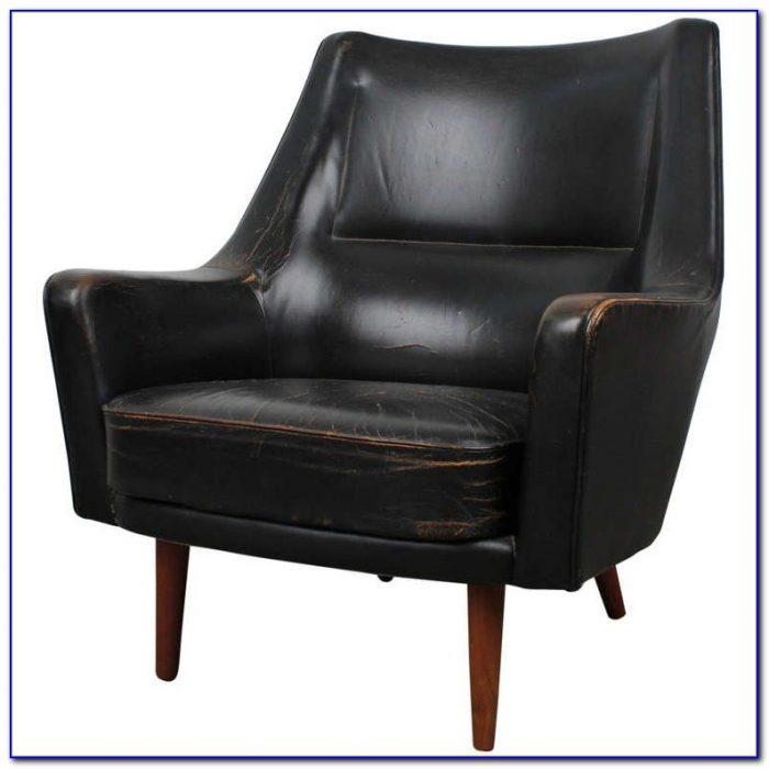 Mid Century Leather Swivel Chair