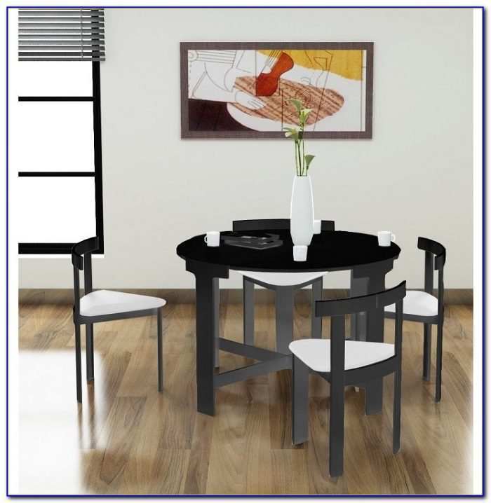 Space Saving Glass Dining Table And Chairs