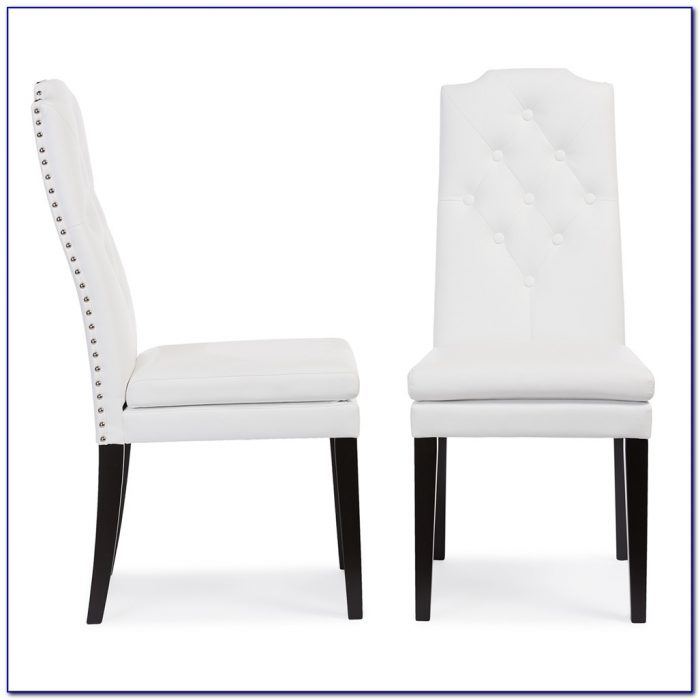 White Leather Tufted Dining Chair