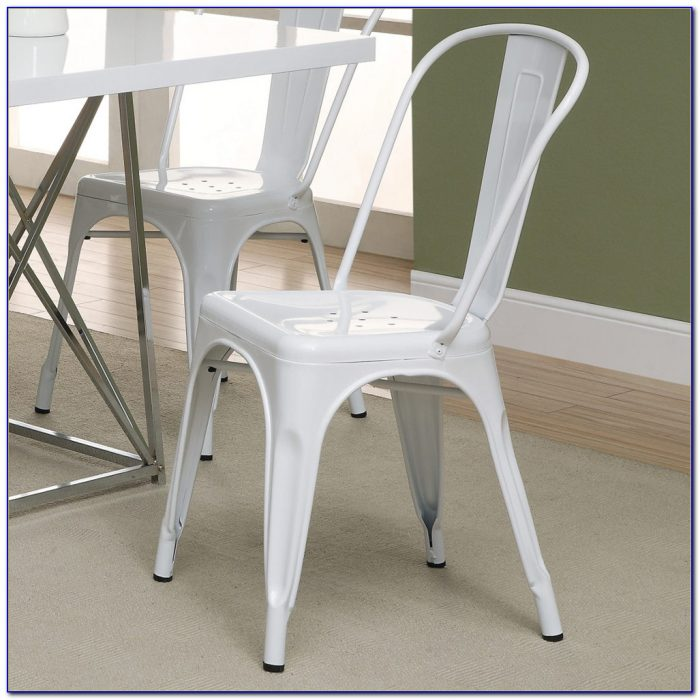 White Metal And Wood Dining Chairs