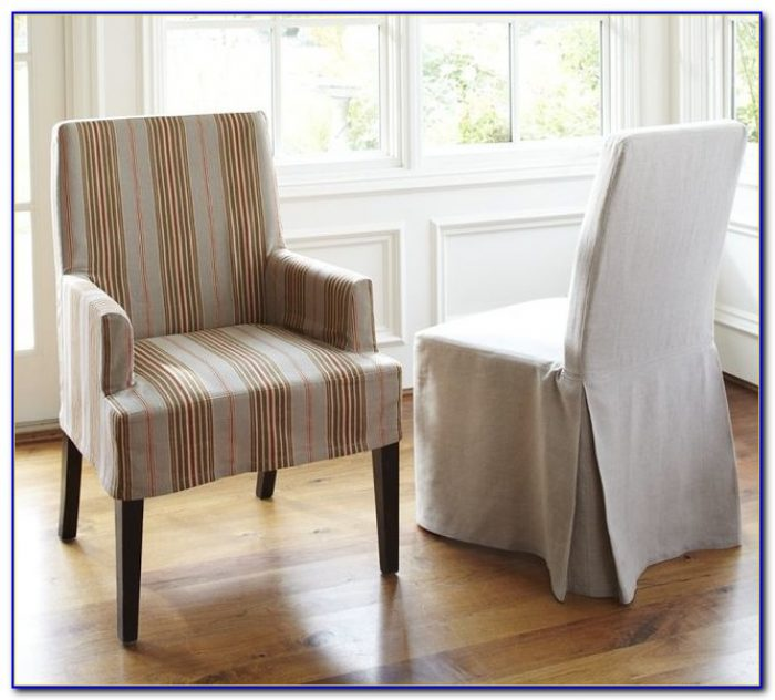 White Slip Covered Dining Chairs