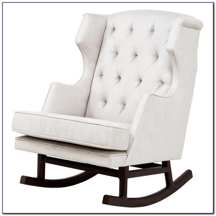 White Wooden Nursery Rocking Chair