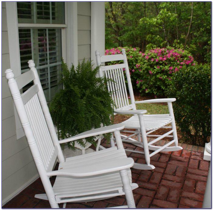 White Wooden Porch Rocking Chairs