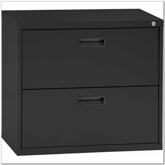 2 Drawer Black Metal File Cabinet