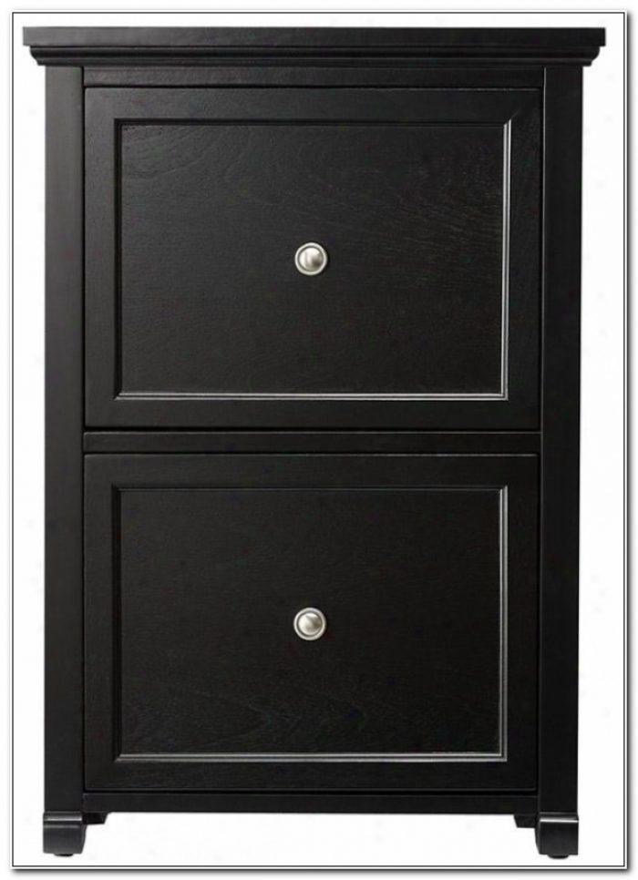 2 Drawer Black Wood File Cabinet