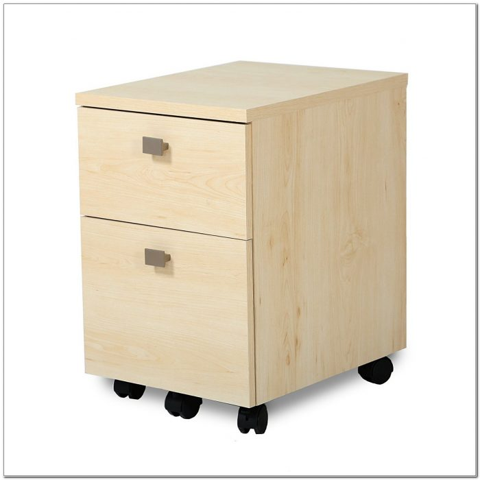 2 Drawer Mobile File Cabinet Natural Maple
