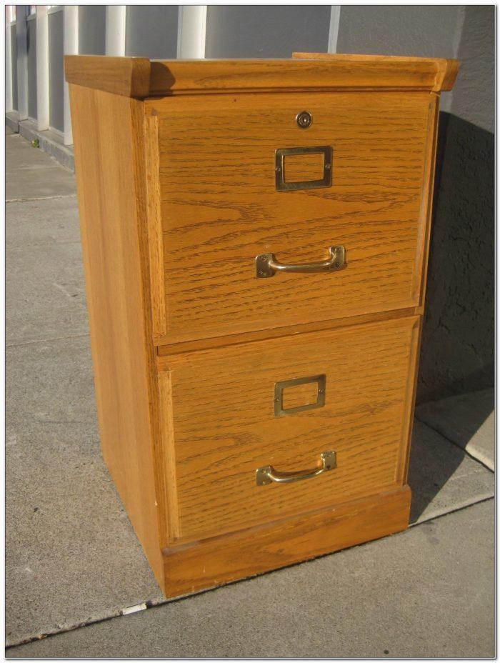 2 Drawer Oak Wood File Cabinet
