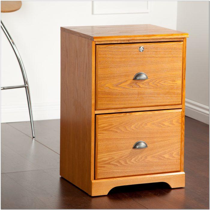 2 Drawer Wood Locking File Cabinet