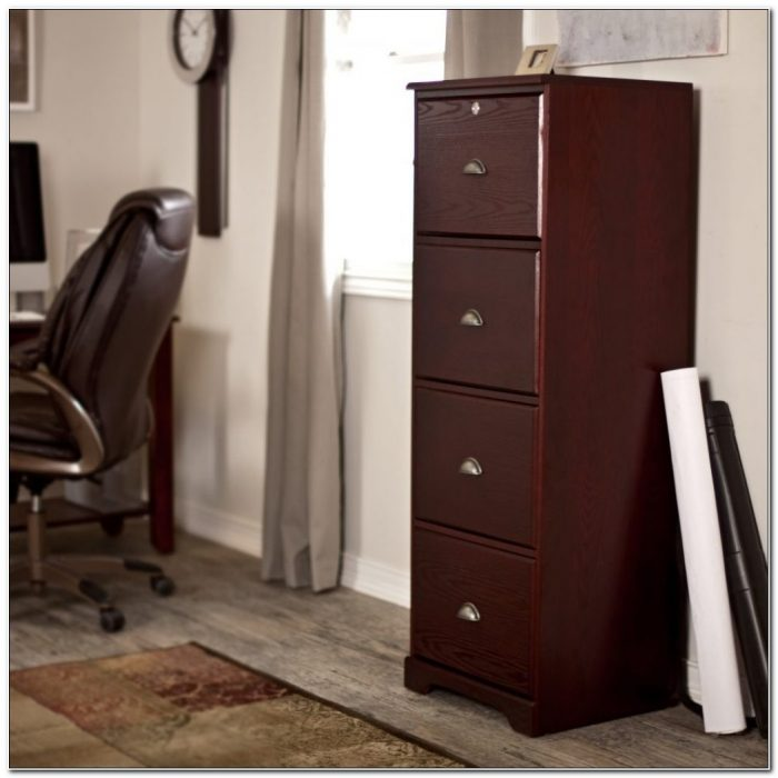 4 Drawer Vertical Cherry Wood File Cabinet