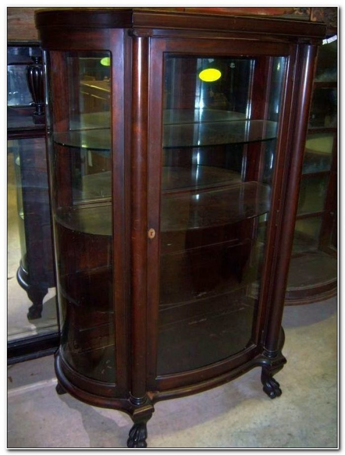 Antique Mahogany China Cabinet Curved Glass