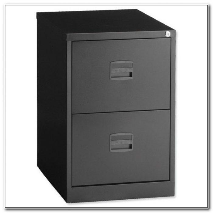 Black 2 Drawer File Cabinet