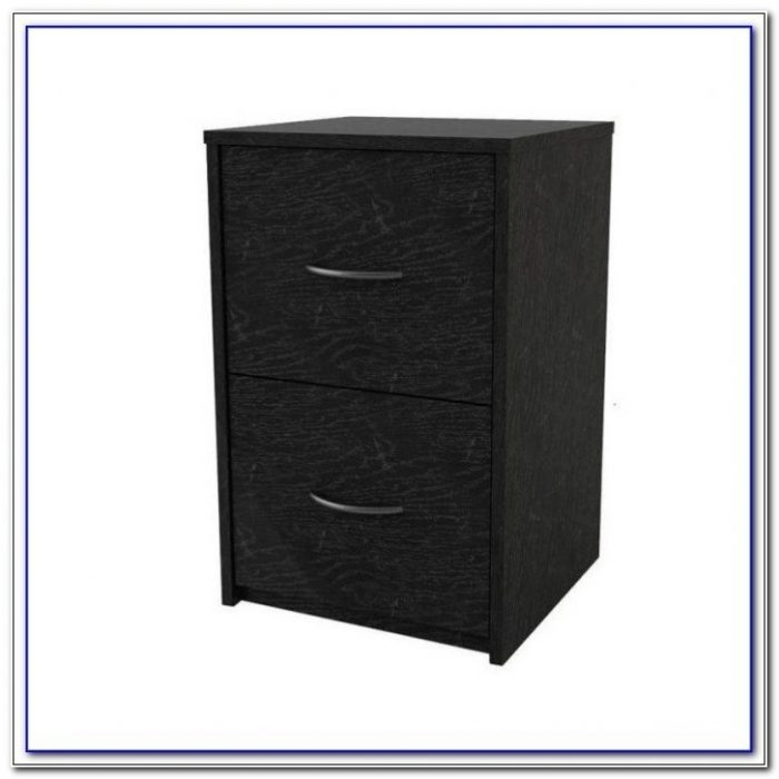 Black Ash 2 Drawer Filing Cabinet