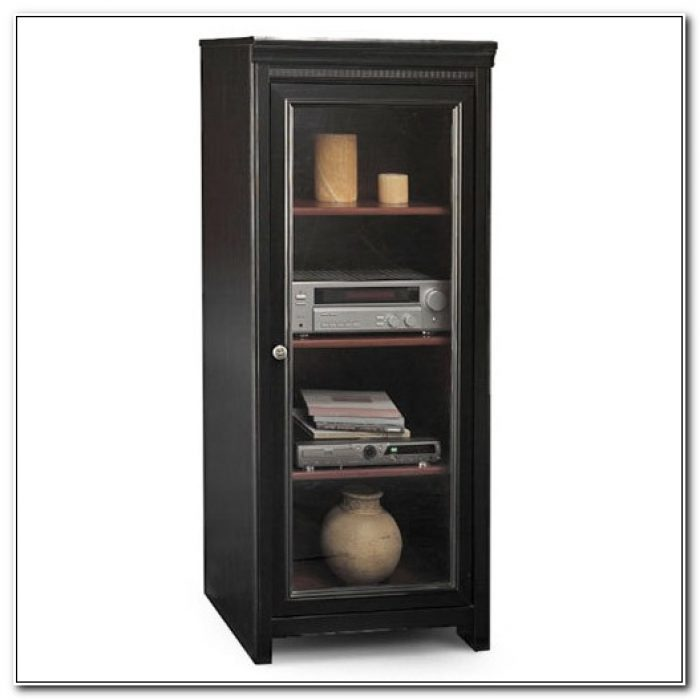 Black Audio Cabinet With Glass Doors