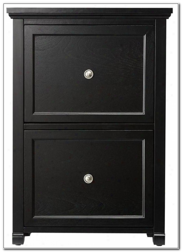 Black Filing Cabinet 2 Drawer Wood