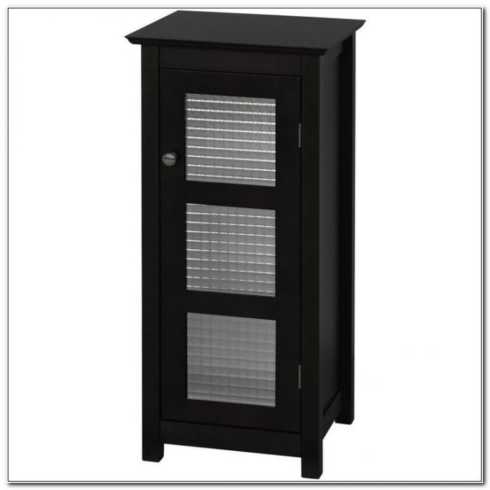 Black Floor Cabinet With Glass Doors