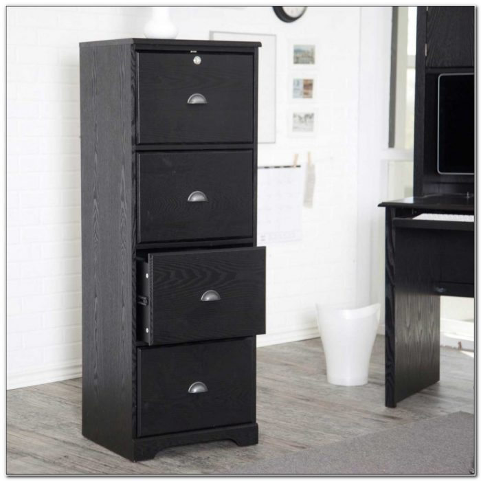 Black Wood Vertical Filing Cabinet