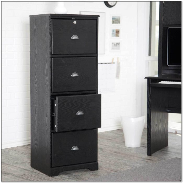Black Wooden File Cabinets 4 Drawer